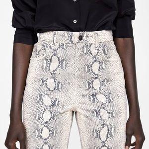 Zara Jeans - ZARA HIGH WAIST PYTHON PRINT PANTS.JEANS